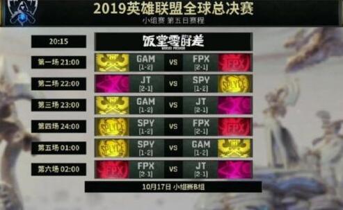 LOL S9小组赛第五日赛程:FPX两场决定能否出现