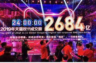 天猫双十一总成交额发布 订单峰值达54.4万笔/秒