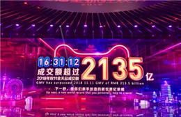 16时31分12秒 2019天猫双11成交额超过人民币2135亿元