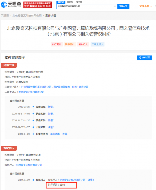 愛奇藝訴網易侵犯名譽權被駁回 被強制執行2350元
